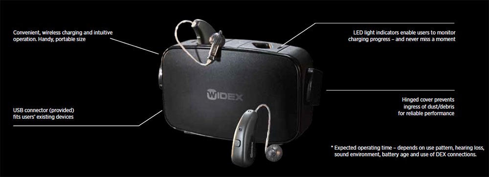 Widex Moment rechargeable in charger