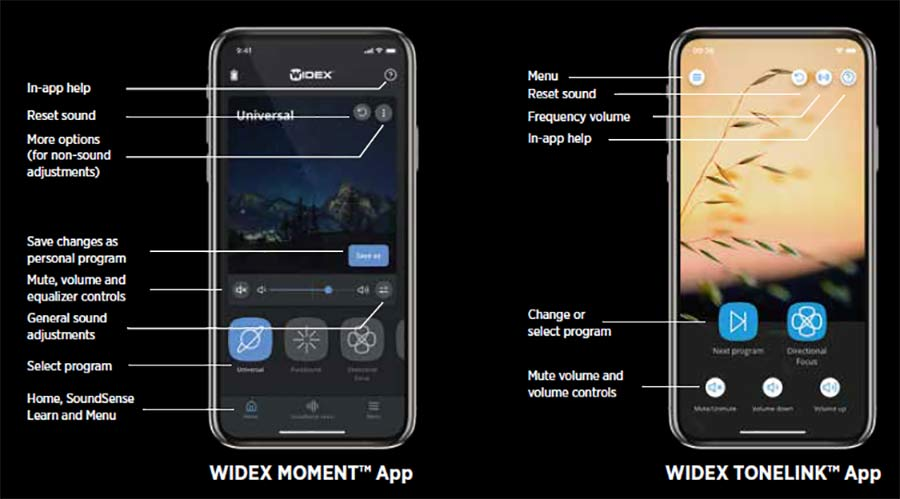 Widex apps for Moment