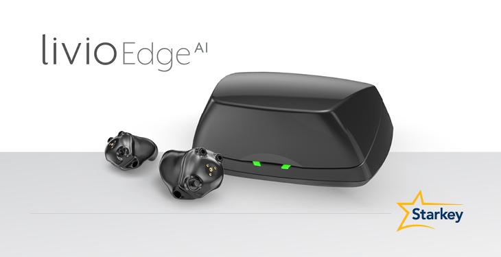 Starkey Livio Edge AI Custom Hearing Aids and Charger